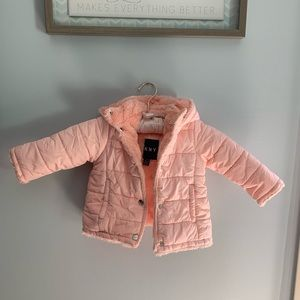 Toddler DKNY pink puffer jacket with furry inside